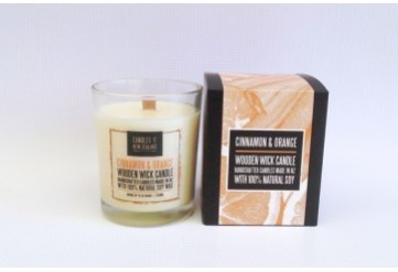 Cinnamon & Orange Wooden Wick Soy Candle with Box