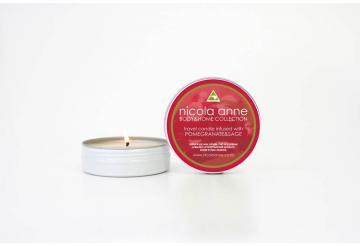 Flicker Nicola Anne travel candle with pomegranite and sage