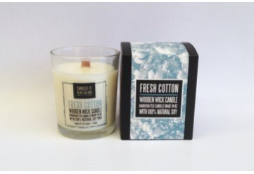 Fresh Cotton Wooden Wick Soy Candle with Box